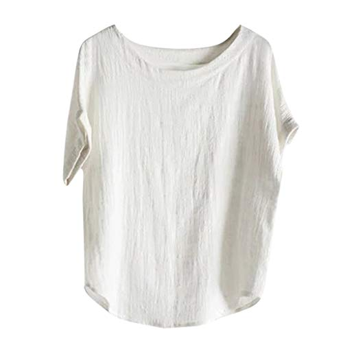 Nuewofally Womens Tunic Tops Casual Blouse Solid Color Crew Neck T Shirt Summer Short Sleeve Blouse Tops White ()
