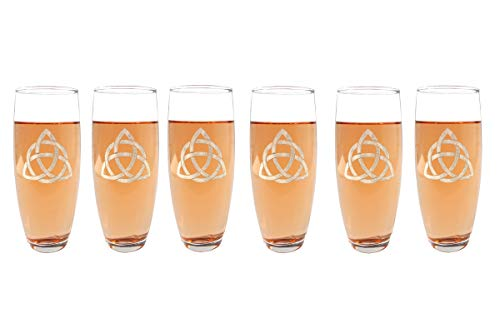 Trinity Knot Stemless Champagne Flutes Set of Six : Free Personalized Engraving ()
