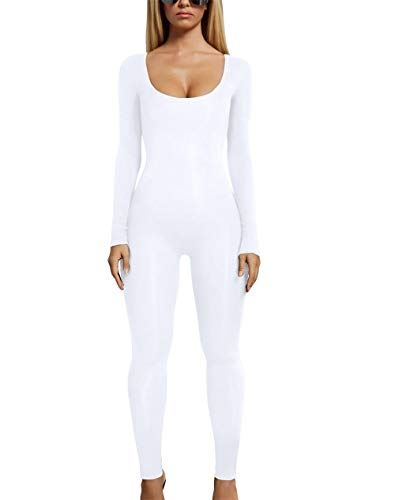 (MAGICMK TYFeng Women's Basic Scoop Round Neck Long-Sleeve Stretch Bodysuits Leotard Jumpsuits Romper(WHITE3, S) )