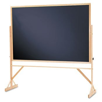 Quartet WTR406810 Reversible Chalkboard, 72 x 48, Black Surface, Oak Frame by Quartet