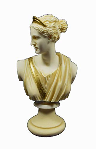 (Artemis Sculpture Bust Diana Ancient Greek Goddess of Hunt Aged Patina Statue)