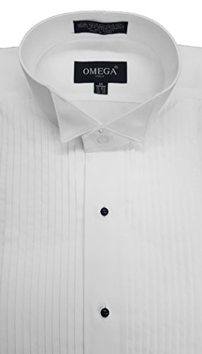 Omega Wing Collar Tuxedo Shirt, 1/4'' Pleat (3XLarge(19-19.5) 34/35) by Omega