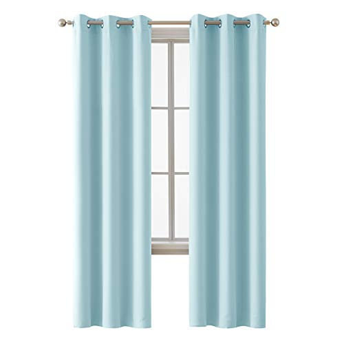Deconovo Grommet Room Darkening Thermal Insulated Blackout Curtains Window Panels for Bedroom Width 38 Inch by Length 84 Inch Baby Blue 2 Curtain Panels