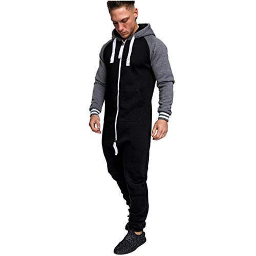 WOCACHI Tracksuits for Mens, Men Pure Color Splicing Autumn Winter Casual Hoodie Print Zipper Print Jumpsuit 2019 Spring Off Jumpers Hoodie Pullovers Long Sleeve Sweater Slim Fashion - Designer Fab Dog