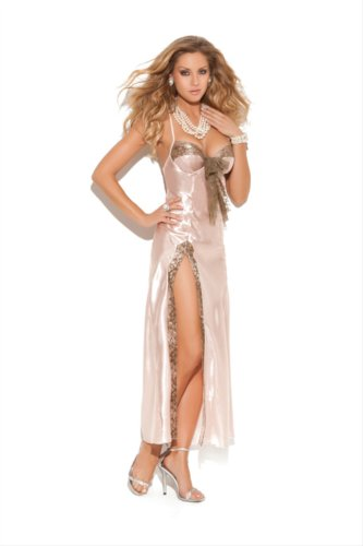Charmeuse Gown with Lace Trim, Underwire Cups, Adjustable Straps and Side Slit