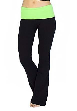 Popular Basics Women's Cotton Yoga Pants With Fold Down Waist-black/neon green