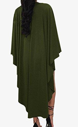 Hurrg Womens Deep V-Neck Asymmetric Batwing Sleeves Bandage Club Mini Dress