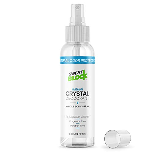 Natural Crystal Deodorant Spray by SweatBlock (Best Deodorant Against Sweat)