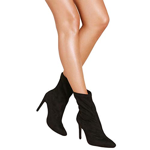 Women Booties Velvet High Heels Pointed Toe Stilettos Shoes Zipper Ankle Boots by Lowprofile -