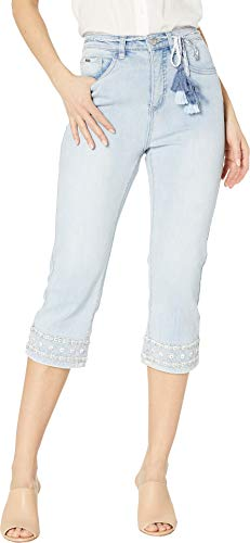 French Tassel - FDJ French Dressing Jeans Women's Statement Denim Embroidered Hem with Tassel Belt Suzanne Capris in Celestial Celestial 14 20