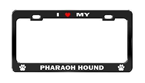 AdriK I LOVE MY PHARAOH HOUND #hrt Black Dog License Plate Frame Auto Accessories New Pharaoh Hound