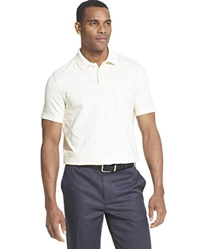 - Van Heusen Men's Flex Short Sleeve Stretch Windowpane Polo Shirt, Cream Tofu, Large