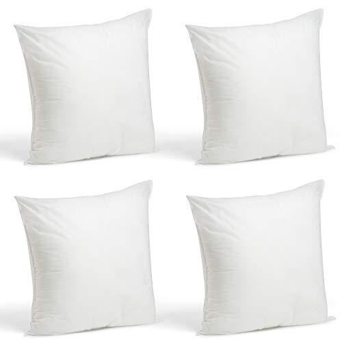(Foamily Set of 4-18 x 18 Premium Hypoallergenic Stuffer Pillow Inserts Sham Square Form Polyester, 18