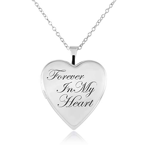 Sterling Silver Heart Shape Forever in my Heart Cremation/Keepsake Fashion Locket Pendant with Chain for Women, 20mm - Timeless and Elegant (Forever In My Heart Lockets And Charms)