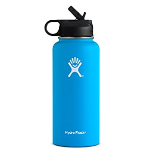 Hydro Flask Vacuum Insulated Stainless Steel Water Bottle Wide Mouth with Straw Lid (Pacific, 40-Ounce)