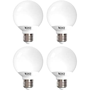 Sunco Lighting 4 Pack G25 LED Globe, 6W=40W, Dimmable, 450 LM, 5000K Daylight, E26 Base, Ideal for Bathroom Vanity or Mirror - UL & Energy Star