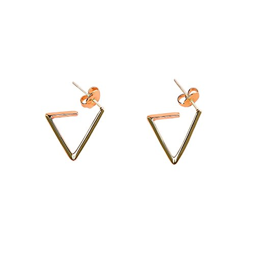 Texture Treasure 14K Gold Triangle Stud Earrings (Yellow Gold)