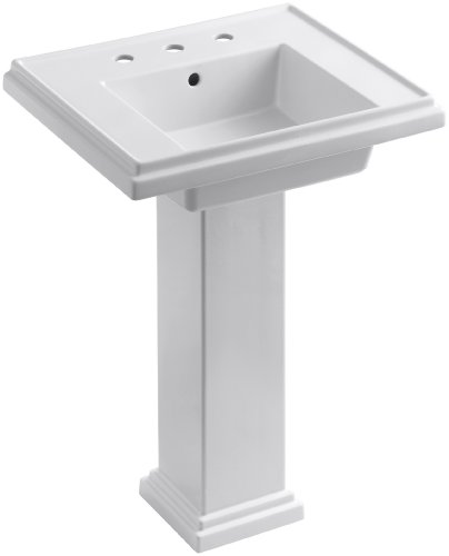 KOHLER K-2844-8-0 Tresham 24-inch Pedestal Bathroom Sink with 8-inch Widespread Faucet Drilling, White