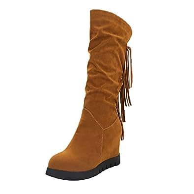 Botines Botas para Mujer,Mujeres Borla Nacional Flecos Botas De Tobillo Aumentó Zapatos De Cuña Medio Botas: Amazon.es: Zapatos y complementos