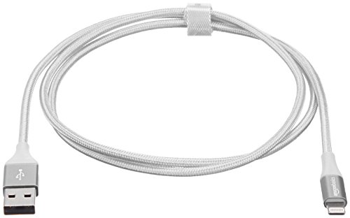 AmazonBasics Double Braided Nylon USB A to Lightning Compatible Cable, Advanced Collection - Apple Mfi Certified Silver 3-Foot (0.9 Meters) by AmazonBasics (Image #5)