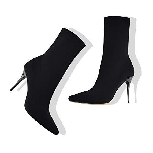 Vivi Women Black Stretch Lycra Stiletto High Heels Pointed Toe Mid-Calf Booties Size 6