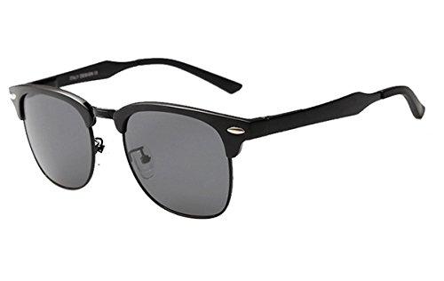 XSHINE Classic Metal Half Frame Horn Rimmed Polarized Clubmaster Sunglasses (Black Frame / Grey Lens, 51mm) (Glasses Losing Your)