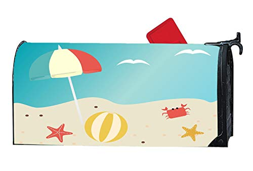 Beach Summer Beach Ball Sea Crab Custom Magnetic Mailbox Cover - Mail Wrap for Standard Mailboxes Size 6.5