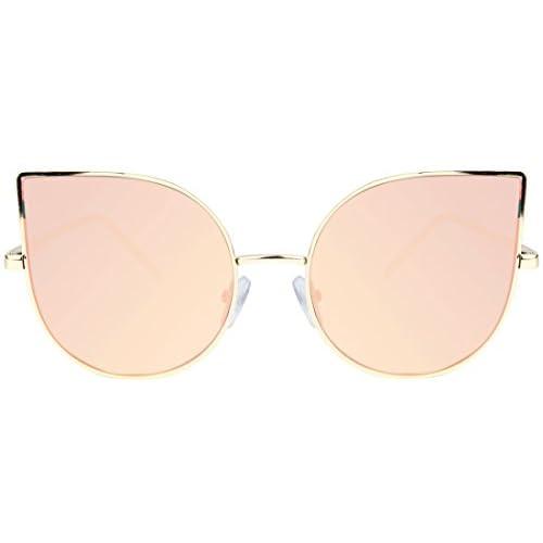 e930c51474c new SojoS Cat eye mirrored flat lenses Ultra Thin Light metal women  Sunglasses SJ1022