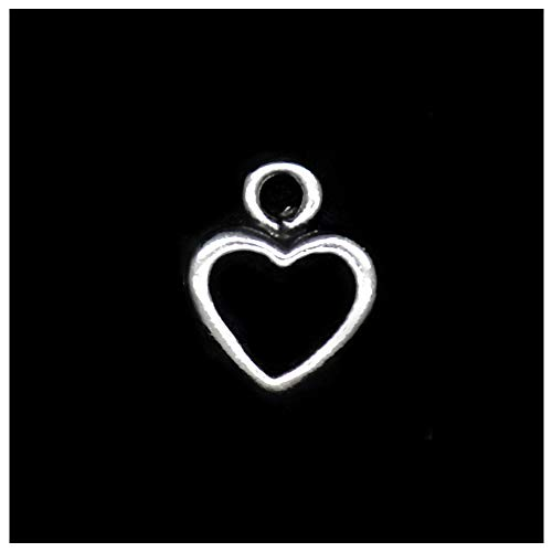 Pack of 80 Heart Circle Charms Pendants Silver Craft Supplies for Jewelry Making Tibetan Accessories for Bracelets Necklace DIY