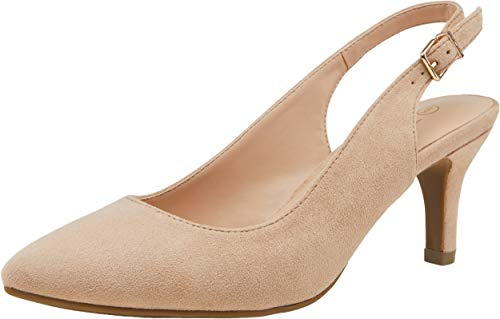 VOSTEY Women Low Heel Dress Shoes Kitten Heel Slingback Pumps(10,Kitten Heels-Nude Nubuck/134A)
