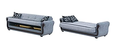 Empire Furniture USA Sunrise Collection Convertible Sofa Bed with Storage Space and Includes 2 Pillows