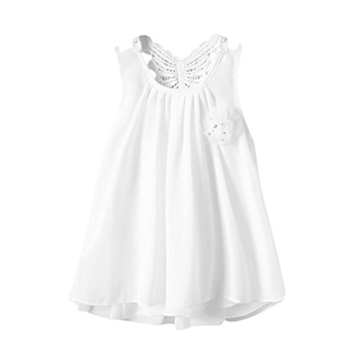 Sannysis Baby Kleider, Neugeborenen Kleinkind Baby Mädchen Solide Blumendes Rückenfreies Freizeitkleid/Schmetterlingsblüte Prinzessin Kleid Weiß