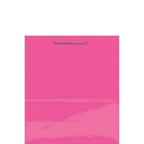 Amscan Solid Glossy Bag Medium , 12 Ct., Bright Pink