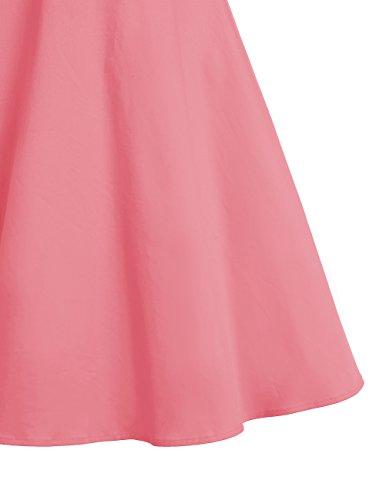 Dresstells®Vestido Mujer Corto De Estilo 1950 Vintage Con Manga Corta Pink