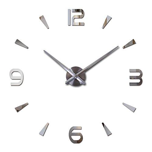 Geometric Clock - FASHION in THE CITY Acrylic Mirror Surface 3D DIY Wall Clock Luxury Big Size Wall Decor Clocks (Silver)