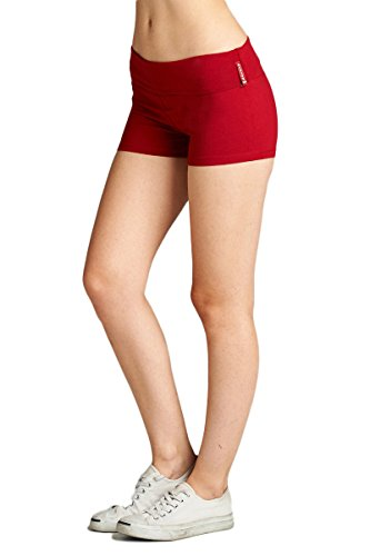 Cotton Spandex Tights - Emmalise Active Junior Women Fold Over Low Rise Short Cotton Spandex Yoga Workout Dance - Red, Medium