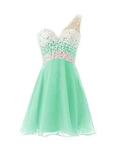 Shoulder Short Dress Homecoming One Dress BessDress Prom BD148 Beadings Mint Evening XxdpEH