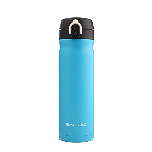 Yougeyu Stainless Steel Double Insulated Vacuum Thermos Portable Hot or Cold Drinking Water Bottle Suitable for Cycling Car Driving Hiking Traveling 450ml Blue