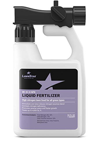 - LawnStar 30-0-0 NPK Fertilizer (32 OZ) - Makes Grass Grow Greener, Faster - Liquid Lawn Food w/Slow Release Nitrogen - High Nitrogen Premium Blend, Treats Deficiency, All Grass Types - American Made