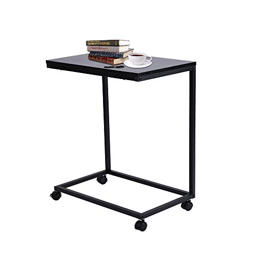 SSLine Rolling Sofa Side Snack Table Portable Laptop Computer Desk Stand with Wheels, Mobile TV Breakfast Tray Bedside Slim Coffee Table, Wood Desktop with Metal Frame (Black-2)