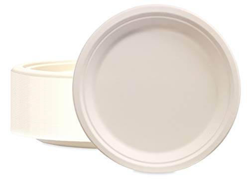 100 Pack of 6'' Round Organic Bagasse Plates Ecofriendly Disposable Small Plates for Picnic, Party, Catering & Everyday Use - Stock Your Home by Stock Your Home (Image #1)