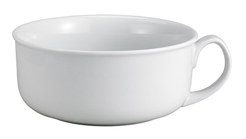 Jumbo Soup Mug - HIC Oversized Soup and Cereal Mug, Fine Porcelain, White, 28-Ounces