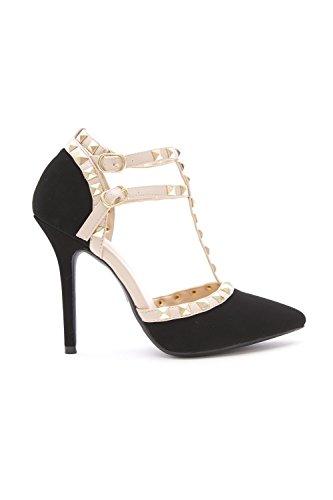 Wild Diva Womens Pointy Toe Gold Stud Strappy Ankle T-Strap Stiletto Heel Pump Sandal,10 B(M) US,Black Nubuck