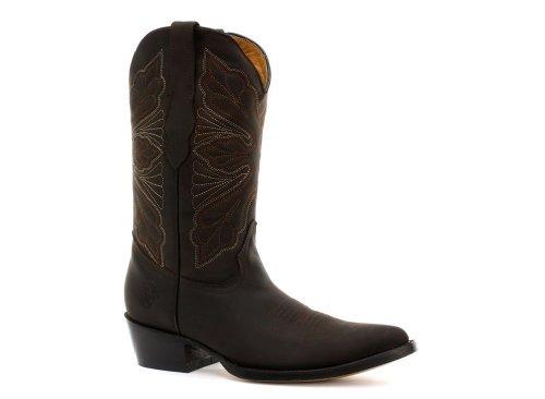 Meuleuses pour femme-Marron-Cuir véritable Dallas de Cowboy Western Bottes mi-mollet pour orteil Pointure 36/UE