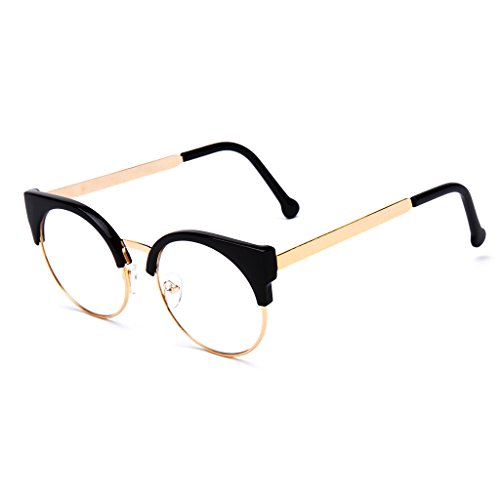 Yumian Unisex Cat Eye Clear Lens FLAT Glasses Vintage Retro Metal Half FRAME Semi-Rimless Eyeglasses - Glasses Eye Cheap Vintage Cat