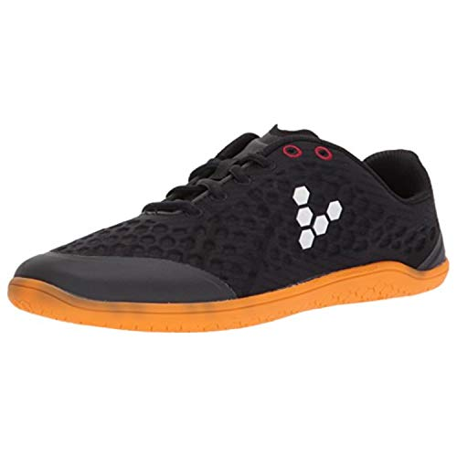 Vivobarefoot Stealth 2 Women's Iconic Road Running Shoe, Black/Orange 40 D EU (9 US)