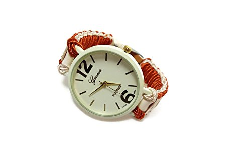 Ladies big face braided strap wrist watch Cord band faux leather bracelet Girlfriend birthday gift ()