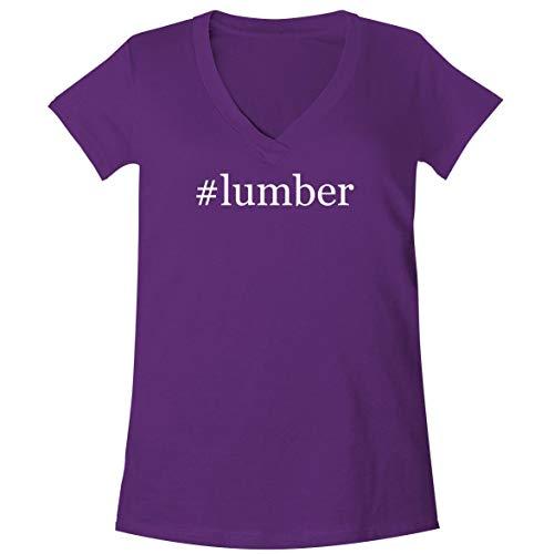(#Lumber - A Soft & Comfortable Women's V-Neck T-Shirt, Purple, XX-Large)