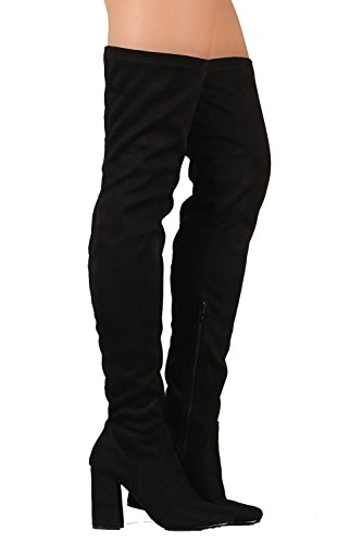 Black Stretch Thigh High Boots (Elantra 01 Womens Stretchy Thigh High Chunky Heel Suede Boots Black 7.5)