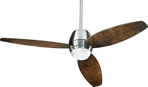 Quorum International 142523-65 Bronx 3-Blade Patio Ceiling Fan with Walnut ABS Blades and Integrated Light Kit, 52-Inch, Satin Nickel Finish